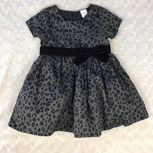 Carter's Leopard Print Dress Black Gray Bow 9M